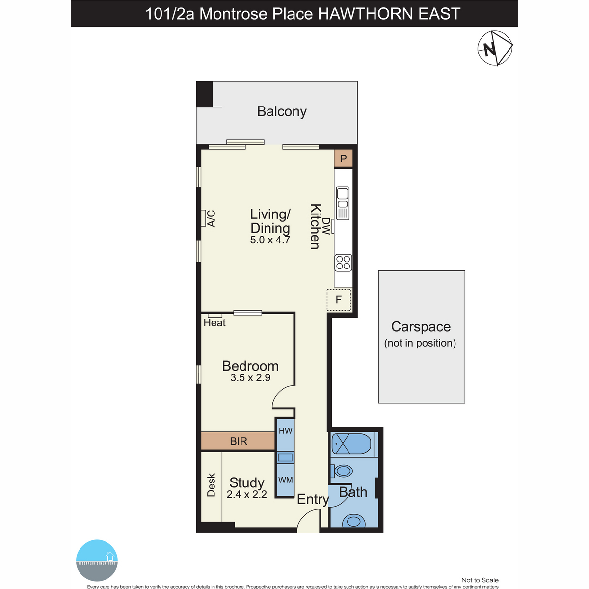 Spacious Light Filled 1 bed plus Study Apartment
